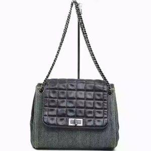 Authentic Chanel Chocobar Accordion Denim Bag